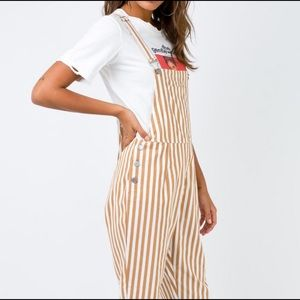 Princess Polly Jeans - Tan Stripped Jumpsuit